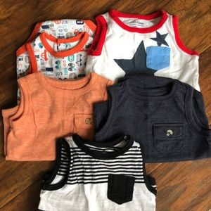 Set of five infant bodysuit tank tops, 6 months